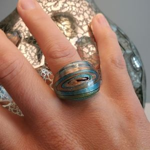 Blue & Gold Glass Statement Ring